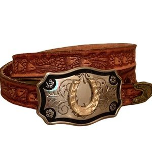Vntg TexTan Hand Tooled Western Brown Leather Belt